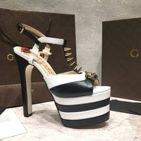 GUCCI Women Leather Heels Sandals Shoes