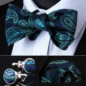 Aqua Blue Paisley Men Silk Bow Tie set with handkerchief and Cuff links