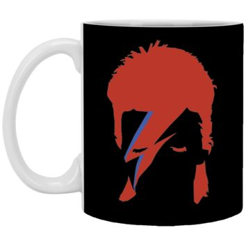 David Bowie Aladdin Sane Mens Navy Heather T-shirt (2)-01 XP8434 11 oz. White Mug