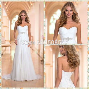 Vestido De Noiva 2016 New Arrive Stock Dress White/Ivory Chiffon Fashionable Wedding Dress Wedding Gowns Vestido Robe De Mariage