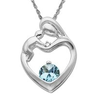 10k White Gold, Aquamarine, and Diamond Accent Mother's Jewel Heart Pendant Necklace, 18""