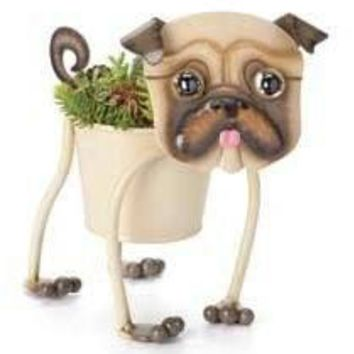 "Georgetown Mini Metal 4"" Planter-Pug Planter"