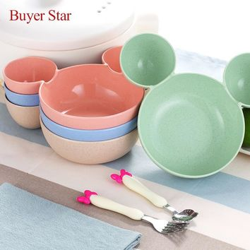 Wheat quality food material plastic mickey mouse Head soup bowl dish of fruits table dish lunchbox owl with Sponn Fork