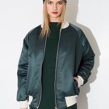 Green Sateen Bomber Jacket