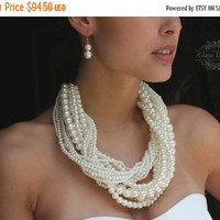 Gorgeous bridal jewelry set, Braided Chunky bridal necklace, pearl necklace earrings,Twisted pearl necklace ,formal jewelry,Chunky necklace