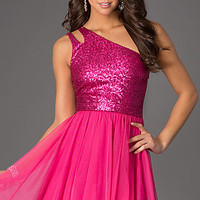 Short One Shoulder Dress with Sequin Bodice