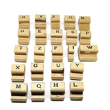 Letter Stamp Set, Wooden Rubber Stamps, Alphabet Stamps 23 Pieces