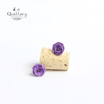 Purple Mini Rose Stud Earrings - Handmade Quilling Paper Jewelry -  Bridesmaid Accesory