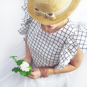 White Top - White Blouse, Cotton Top, Ruffled Top, Bridal Blouse, Plaid Top, Wedding Top, Crop Top, White Shirt, Cotton Blouse, Formal Top