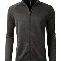 LE3NO PREMIUM Mens Performance Moisture Wicking Zip Up Track Jacket