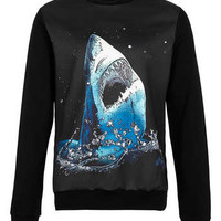 Black Neoprene Shark Printed Sweatshirt - Mens Hoodies & Sweatshirts - Clothing - TOPMAN USA