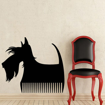 Grooming Salon Wall Decal Pet Shop Vinyl Sticker Decals Dog Comb Scissors Grooming Salon Decor Interior Art Murals Window Decal AN734