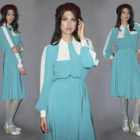 Vintage 80s Colorblocked Knee Length Dress / Teal and White Dress / Long STRIPE SLEEVE Midi Dress, Draped Collar / Lilli Ann DESIGNER / M L