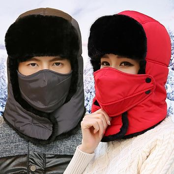 TFSCLOIN Unisex Winter Hiking Hunting Outdoor Bomber Hats Thicken Balaclava Cotton Fur Earflap Thermal Russian Skull Mask