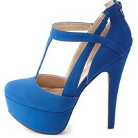 Cut-Out T-Strap Platform Pumps by Charlotte Russe