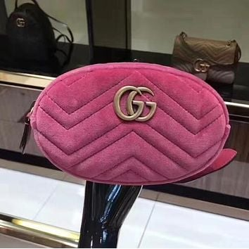 Gucci Fashion Women Velvet Purse Waist Bag Single-Shoulder Bag Pockets Bag Pink