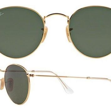 DCC3W Ray Ban Aviator RB3447 Round Sunglasses 001 Gold With G15 Green Lens