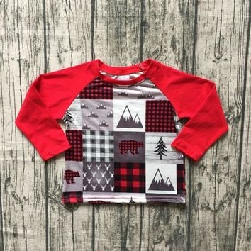 plaid Christmas Fall/winter baby boys children clothes boutique cotton top t-shirts raglans outfits red gray tree long sleeve