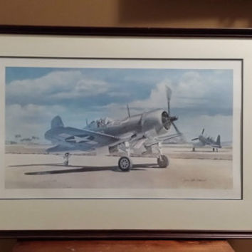 Joe DeMarco US Air FORCE Corsair Airplane Signed Framed Vintage Print GORGEOUS!