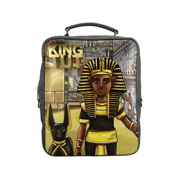 King Tut Vegan Leather Black Square Backpack (Model 1618)