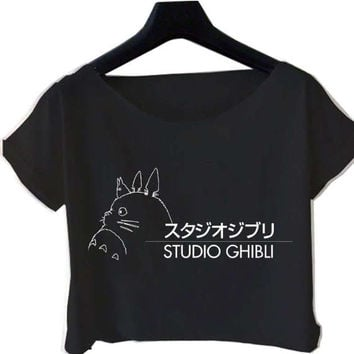 Totoro My Neighbor Studio Ghibli Crop Tops Ready on White Black Crop Tee