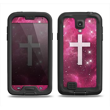 The Vector White Cross v2 over Glowing Pink Nebula Samsung Galaxy S4 LifeProof Fre Case Skin Set