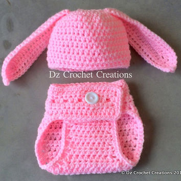 Crochet Bunny Photo Prop - Rabbit - Halloween Costume - 0-3 months - Crochet Baby - Crochet Character - Beanie, Diaper Cover