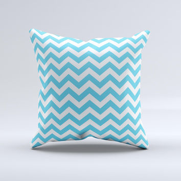 Blue and White Chevron Pattern  Ink-Fuzed Decorative Throw Pillow