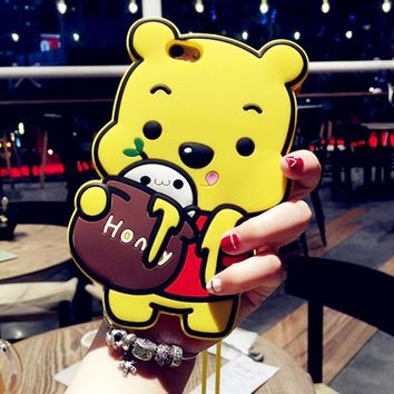 3D Winnie the Pooh Case For iPhone 4 4S iPhone 5 5S 5C SE 6 6S 7 8 6s Plus iPhone X Silicone Phone Cover