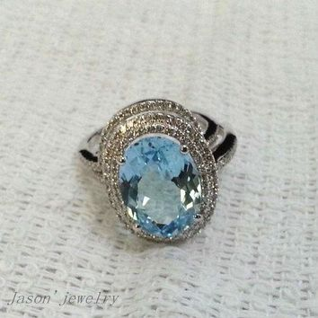 6.50CT SOLID 14kt WHITE GOLD NATURAL BLUE AQUAMARINE ENGAGEMENT RING