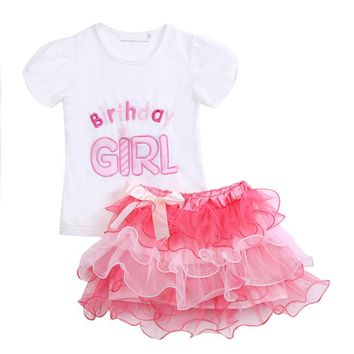 Birthday Girl T-Shirt Tops Pink Lovely Layered Tutu