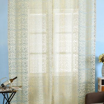 1Pcs Jacquard Fabric Voile Curtain For Living Room