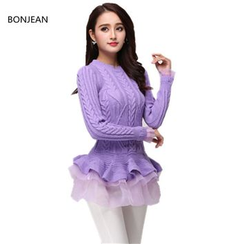 Pullovers Women Pullover Europe And The 2018 Jacquard Winter Fungus Hem Sweet Sweater Girllong-sleeved Candy Multicolor Women