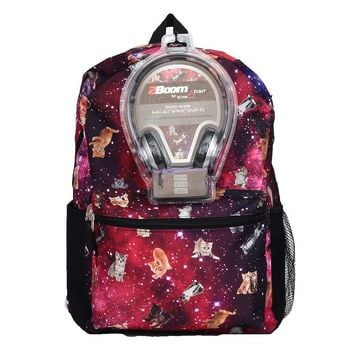 Space Cat Backpack & Headphones Set - Kids (Pink)
