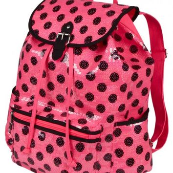 Large Pink & Black Polka Dot Rucksack | Girls Fashion Bags & Totes Accessories | Shop Justice