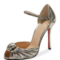 Christian Louboutin Marchavekel Knotted d'Orsay Red Sole Pump, Platine
