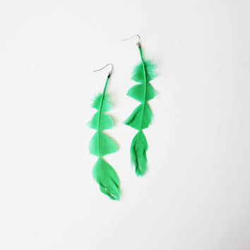 Neon Green Feather Earrings antiallergy by AllBeta on Etsy