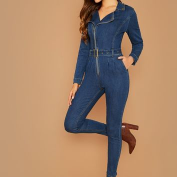Zip Front Long Sleeve Denim Cover All Jumpsuit