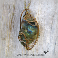 Labradorite Necklace - Iridescent Wire Wrapped Pendant in Antique Bronze - Healing Stone