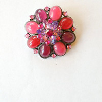 Vintage Pink Brooch Pin Pink Costume Jewelry Vintage Costume Jewelry Pink Rhinestone Valentine Pink Pin
