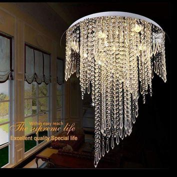 Modern spiral design flush mount K9 crystal ceiling chandeliers light fixtures Dia50*H55cm led bulbs Crystal Chandelier Modern