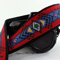 Tribal Camera Strap dSLR or SLR, Southwestern, Pendleton, Red, Blue, 2