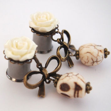 Custom for  Aubrey 1/2  Ivory Skull Dangles
