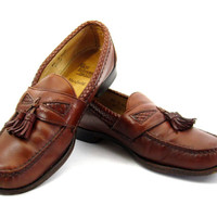 Allen Edmonds Maxfield Loafers - Tassels Dress Shoes Chestnut Brown Leather Designer Ivy League Menswear Men's Size 8.5 D