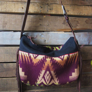 Sale! Now 20% off Large Plum and Tan Pendleton Wool hobo crossbody with leather strap and fringe accents/ Boho bag with leather fringe