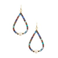 Teardrop resin fresh water pearl earring