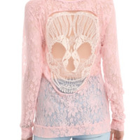 Teenage Runaway Blush Skull Lace Top