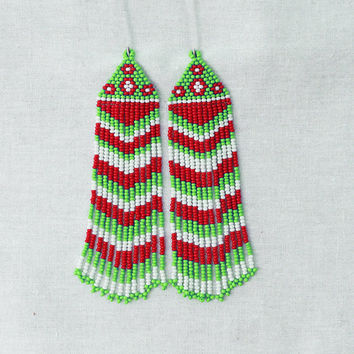 Beaded Native American  Earrings  Inspired. White Red Green Earrings.Long Earrings.  Beadwork.