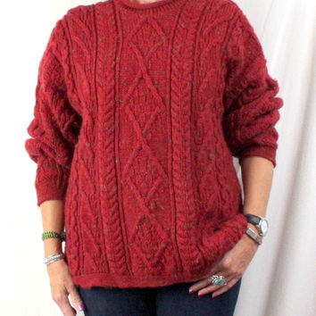 McKennas Wool Sweater Mens L Womens XL size Burgundy Rust Red Cable England Made Fisherman