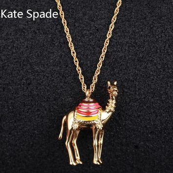 Kate Spade Fashion New Camel Pendant Personality Necklace Women Golden